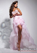 NWT Tony Bowls Hi-Low Pink Tulle Jeweled Strapless Prom~Ball Gown Formal Dress 6
