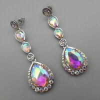 Betsey Johnson AB Glass Crystal Long Teardrop Drop Dangle Earrings