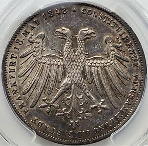 2 Gulden 1848 Archduke Johann Free imperial City of Frankfurt AU / PCGS Very R!