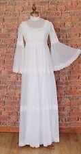 Genuine Vintage Wedding Dress Gown 70s Retro Victorian Edwardian Style UK 6