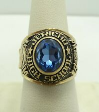 10K YellowGold Blue Topaz Jericho High School 1994 Class Ring Size 8.5 14.1gM135