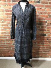 Vintage Dress Black Silver metallic Peasant Dress Longsleeve Rhinestone Buttons