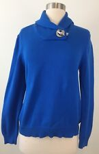 Womens Lauren Ralph Lauren Bright Blue Knit Shawl Sweater Toggle Size Small