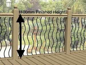 Wavy or Straight Black Metal Decking Panels. Steel Garden Fence Spindle Railings
