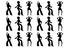 STAND UP DISCO DANCE SILHOUETTES/DANCING WAFER/RICE CARD CUP CAKE TOPPER/S