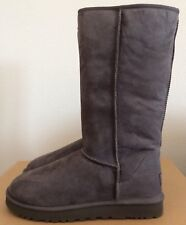UGG Womens Classic Tall Boots Grey Gray Size 10 Twinface Sheepskin 5815