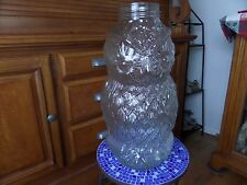 Vintage Bloomingdale Glass Wise Old Owl Peanut Candy Container Jar Piggy Bank