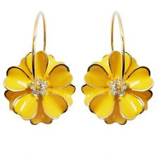 Navachi Yellow Enamel Flower 18K GP Crystal Hoop Earrings BH2817