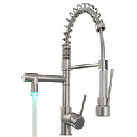 Commercial Pull Down Kitchen Faucet Sprayer LED Brushed Nickel Brass Mixer Taps