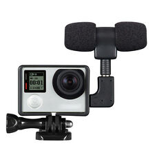 Mini Stereo Microphone + Adapter Cable Standard Frame Fit For Gopro Hero 4 3+ 3