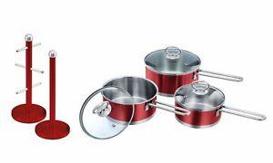 Set of: Non-stick Saucepan Set, Mug Tree & Kitchen Roll Holder Stand Set, Red