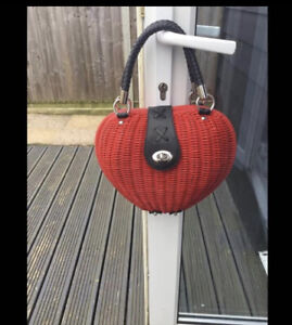 Red Rattan Handbag Strawberry / Heart - Vintage Looking