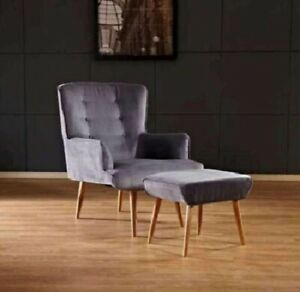 **SALE** FLORENCE CHAIR GREY WITH STOOL Velvet UK Q LIVING ROOM OFFICE RECEPTION