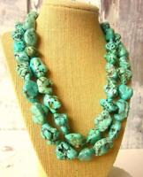 Chunky Green Turquoise Necklace Boho Chunky Turquoise Jewelry Beaded Necklace