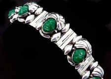 Vintage Taxco Mexican Sterling Silver Green Glass Mask Turban Bracelet 25035
