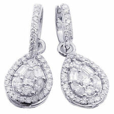 14K WHITE GOLD ROUND BAGUETTES PEAR MARQUISE CUT DIAMONDS EARRINGS 2.00CTW