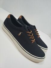 "Mens Polo Ralph Lauren ""Thorton"" Canvas Shoes, Black"
