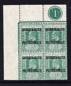 GILBERT & ELLICE 1911 SG1 1/2d of Fiji opt block 4 + control 1 stamps u/m cat£26