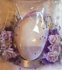Bridal Wedding Lucky Horseshoe Gift Lilac Rose Spray Pearls Personalised Plaque