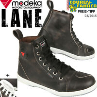 MODEKA LANE schwarz Motorrad Sneaker Schuhe Leder 2 Paar Schnürsenkel 15cm Höhe