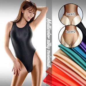 Women Shiny Glossy Satin Leotard Bodysuit One Piece High Cut Swimwear Bath Suit