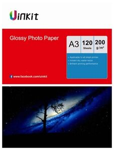 A3 Paper Inkjet Paper High Glossy All in one Print  200Gsm Uinkit - 120 Sheets