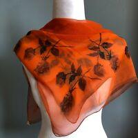 "30"" Vera Orange Black Floral Sheer Vintage Wrap Shawl FLAWED"