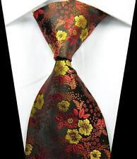 New Classic Florals Red Gold Black JACQUARD WOVEN 100% Silk Men's Tie Necktie