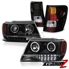 JEEP 99-04 GRAND CHEROKEE WG BLACK HALO PROJECTOR HEADLIGHT+LED TAIL LIGHT LAMP