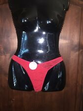 Body Pride red metallic gold sparkle thong panty sissy knickers size 6/medium