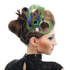Women Vintage Peacock Feather Fascinator Wedding Hair Clip Bridal Dance Party