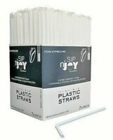 Individually Wrapped Plastic Straws - Flexible, BPA Free, 7.75 Inch 380 Count