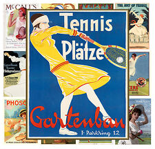 "Mini Posters [13 pages 8""x11""/A4] Tennis Girl Vintage Sport Travel Advert MP582"