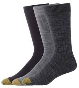 $40 Gold Toe Men 3-Pair Pack Gray Black Cotton Casual Crew Dress Socks Shoe 6-12