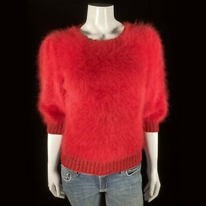 """Fuzzy 100% Angora Vintage AMALI Red Short-Sleeve Pullover Sweater 34""""-Bust"""
