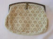 Vintage (hand stitched) White Beaded Evening Bag Made In France