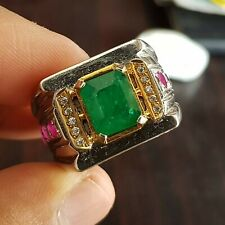 Natural Emerald Ring Unheated Untreated Green Emerald Ring Swat rich green