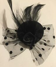 Small Black Rose Mini Hat Fascinator Clip Weddings Races Hen Night Party's veil