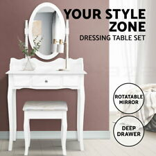 Dressing Table Stool Mirror Set Jewellery Cabinet Drawer White Organizer Tables
