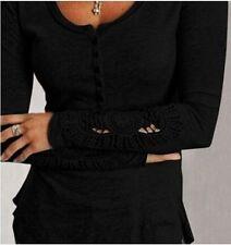 Women Long Sleeve Shirt Casual Lace Blouse Loose Cotton Top T Shirt