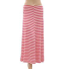 April Cornell Striped Printed Maxi Skirt White & Red Boho Summer XS New 179029