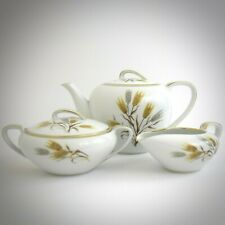 Noritake Wheaton 5414 Teapot Trio Set China Creamer Sugar Bowl Gold Trim Vintage