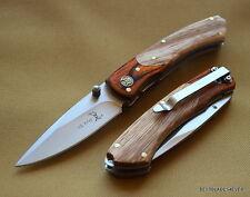 ELK RIDGE PAKKAWOOD HANDLE FOLDING KNIFE 4 INCH CLOSED WITH POCKET CLIP