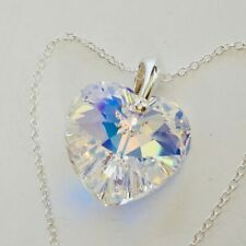 Sterling Silver Swarovski Elements Large 28mm Crystal AB Heart Necklace Pendant