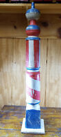 "ANTIQUE STYLE WOOD RED WHITE BLUE STRIPES 39 3/4"" TALL SQ BASE BARBER POLE SIGN"