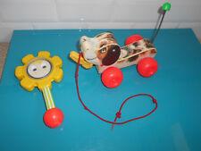 17.9.24.9 Chien bois à trainer Hochet fleur FISHER PRICE TOYS Snoopy  vintage