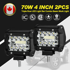 2Pcs 4 Inch 70W LED Work Light Triple Row Spot Flood Beam Offroad Driving Lights