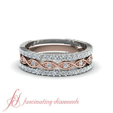 Stackable Rings With Diamonds 3/4 Karat Round Cut In 18K Rose Gold & White Gold