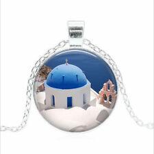 Oia, Isle of Santorini Tibet silver Glass dome Necklace chain Pendant Wholesale