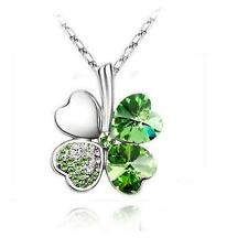 Silver Shamrock Necklace Green Crystal Placed Irish Celtic St. Patricks Day USA